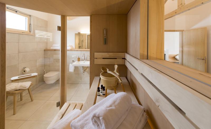 Die Forstgutchalets verfügen über einen privaten Saunabereich für einen erholsamen Entspannungsurlaub